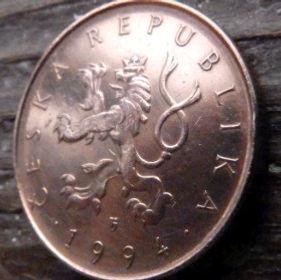 10 Крон, 1994 года,Чехия,Монета, Монеты,10 Koruna1994,Ceska Republika, Собор в місті Брно,Cathedral in Brno,Собор в городе Брно на монете,Coat of Arms, Герб,Fauna, Фауна,Lion, Левна монете.