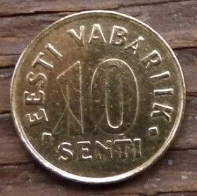 10 Сентов, 1994 года, Эстония, Монета, Монеты, 10 Senti 1994, Eesti Vabariik,Coat of Arms,Герб,Fauna, Фауна,Lions, Львы на монете.