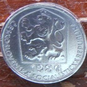 5 Геллеров, 1986 года,Чехословакия,Монета, Монеты,5 Hellers1986, Ceskoslovenska Socialisticka Republika,Star, Звезда на монете,Coat of Arms, Герб,Fauna, Фауна,Lion, Левна монете.