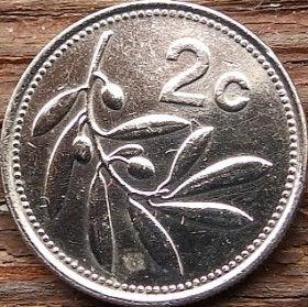 2 Цента, 1986 года, Мальта, Монета, Монеты, 2 Cents 1986, Malta,Флора, Flora, Гілка оливкового дерева,Olive,Ветвьоливкового дерева на монете,Sea, Море,Човен,Boat,Лодка, Sun,Cолнцена монете.