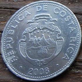 5 Колонов, 2008 года,Коста-Рика, Монета, Монеты, 5 Colones2008,Republica de Costa Rica,Гілки дерева,Tree branches,Ветви дерева на монете, Coat of arms ofCosta Rica,Герб Коста-Рикина монете.