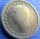 50 Лепт, 1957 года, Греция, Монета, Монеты, 50 Лепта, 50 Lepta 1957,Greece, Герб Греции,Античные воины,Ancient warriors,Корона, Crown,Король Павел I на монете.