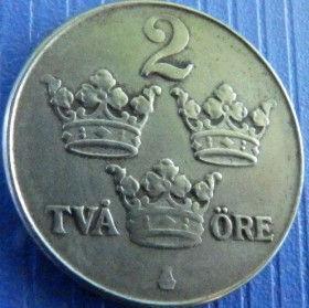 2 Эре, 1947 года, Швеция, Монета, Монеты, 2 Ore 1947, Sverige, Sweden,Crown,Корона,Monogram, ВензельКороляГустава V на монете.