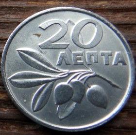 20 Лепт, 1973 года, Греция, Монета, Монеты, 20 Лепта, 20 Lepta 1973,Greece, Гілка оливкового дерева,Olive,Ветвьоливкового дерева на монете, Герб, Eagle, Орел.