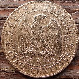 5 Сантимов, 1855 года, Франция,Монета, Монеты, 5 CinqCentimes 1855,EMPIRE FRANCAIS, France,Coat of arms,Герб, Fauna, Фауна,Пташка, Bird,Птица, Eagle, Орел на монете, Император Наполеон III на монете.