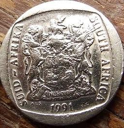 2Ранда, 1991 года, ЮАР,Монета, Монеты, 2 Rand 1991,South Africa,Suid-Afrika, Fauna, Tragelaphus strepsiceros, Фауна, Большой куду на монете, Coat of arms of South Africa, ГербЮАРна монете.