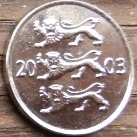 20 Сентов, 2003 года, Эстония, Монета, Монеты, 20 Senti 2003, Eesti Vabariik,Coat of Arms,Герб,Fauna, Фауна,Lions, Львы на монете.