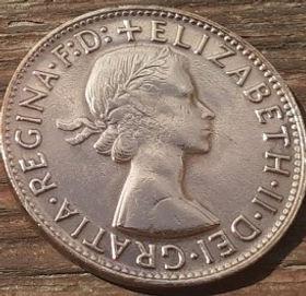 1 Пенни, 1964 года,Австралия, Монета, Монеты, 1Penny 1964, Australia,Kangaroo,Кенгуру на монете, Королева Elizabeth II, Елизавета IIна монете, Первый портрет королевы.