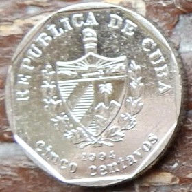 5 Сентаво, 1994 года, Куба, Монета, Монеты, 5 Cinco Centavos 1994, Republica De Cuba,Casa Colonial Guest House,Гостевой дом Casa Colonialна монете, Coat of arms of Cuba, Герб Кубы на монете.