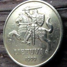 20 Центов, 1997 года, Литва, Монета, Монеты, 20 Centu2007, Lietuva, Coat of Arms,Герб,Воїн на коні,Warrior on horseback,Воин на конена монете.