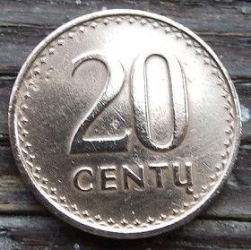 20 Центов, 1991 года, Литва, Монета, Монеты, 20 Centu1991, Lietuva, Coat of Arms,Герб,Воїн на коні,Warrior on horseback,Воин на конена монете.