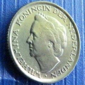 10 Центов, 1948года, Нидерланды, Монета, Монеты, 10 Сents1948, NEDERLAND, Crown, Корона на монете, Королева Вильгельмина на монете.
