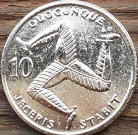 10 Пенсов, 1992 года, Остров Мэн, Монета, Монеты, 10 Ten Pence 1992, Isle of Man, Тринога на монете, Королева Elizabeth II, Елизавета II на монете, Третий портрет королевы.