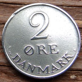2 Эре, 1956года, Дания, Монета, Монеты, 2 Ore 1956, Danmark, Crown,Корона,Monogram, ВензельКороляФредерика IX на монете.