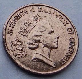 1 Пенни, 1994 года, Гернси, Монета, Монеты, 1 One Penny 1994, Guernsey,Fauna, Фауна,Crab,Крабна монете,Королева Elizabeth II, Елизавета IIна монете, Третийпортрет королевы.