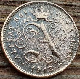 2 Сантима, 1912 года, Королевство Бельгия, Монета, Монеты, 2 Centimos 1912, Фауна, Лев, Lion, Корона, Crown.