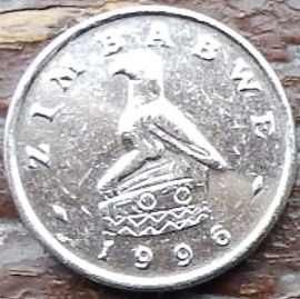 5 Центов, 1996 года, Зимбабве, Монета, Монеты, 5 Cents 1996,  Zimbabwe, Фауна, Заєць, Кролик, Fauna, Hare, Rabbit, Фауна, Заяц, Кролик на монете, Bird of Zimbabwe, Птица Зимбабве на монете.