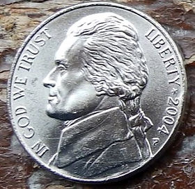 5 Центов, 2004 года,Соединенные Штаты Америки, Монета, Монеты, 5 Five Cents 2004,The United States of America,Човен, Корабель, Boat, Ship,Лодка, Корабльна монете, President Thomas Jefferson, Президент Томас Джефферсонна монете.