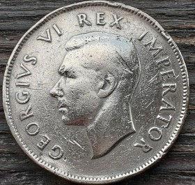 1 Пенни, 1942 года,ЮАР, Монета, Монеты, 1 Penny 1942,South Africa, Suid-Afrika,Море, Sea, Ship,Корабль на монете,КорольGeorgivs VI, Георг VIна монете.