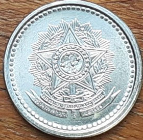 10 Сентаво, 1987 года, Бразилия, Монета, Монеты, 10 Centavos 1987, Brasil, Coat of arms of Brazil, Герб Бразилии на монете.