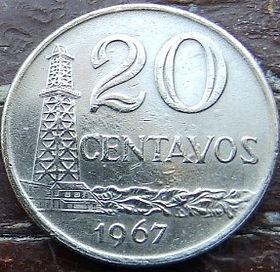 20 Сентаво,1967 года, Бразилия, Монета, Монеты, 20 Centavos 1967, Brasil,Derrick,Буровая вышкана монете,Дівчина, Girl,Девушка на монете.