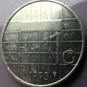1 Гульден, 1993 года, Нидерланды, Монета, Монеты, 1 Gulden 1993, NEDERLAND,Королева Беатрікс на монете.