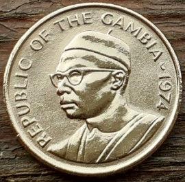 1 Бутут, 1974 года, Гамбия,Монета, Монеты, 1 Butut1974, Republic of the Gambia,Флора, Горіх, Арахіс,Flora, Walnut, Peanuts, Флора, Орех, Арахис на монете, Первий президентГамбииДауда Кайраба Джавара на монете.