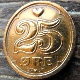 25 Эре, 1991 года, Дания, Монета, Монеты, 25 Ore 1991, Danmark,Heart,Сердечко,Crown,Коронана монете.