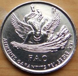 1 Сантим, 1999 года, Княжество Андорра, Монета, Монеты, 1 Centim 1999,Рослинний орнамент,растительный орнамент, floral ornament, Корона, Crown, Мифология,Mythology, FAO,Wheat, Пшеница на монете.