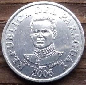50 Гуарани,2006 года, Парагвай, Монета, Монеты, 50 Guaranies2006, Republica Del Paraguay, Гребля, Електростанція, Dam, Power plant, Плотина, Электростанцияна монете,Jose Felix Estigarribia, Хосе Феликс Эстигаррибияна монете.