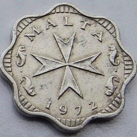 2 Милс, 1972 года, Мальта, Монета, Монеты, 2 Mils 1972, Malta,Рослинний орнамент,растительный орнамент,floral ornamentна монете,Fauna, Фауна,Fish, Рыба,Мальтійський хрест,Maltese cross,Мальтийский крестна монете.