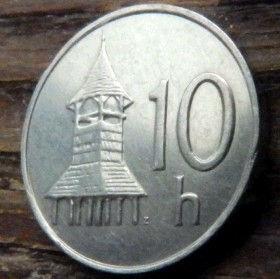 10 Геллеров, 1997года,Словакия,Монета, Монеты,10 Hellers1997, Slovenska Republika,Дерев'яна дзвіниця,Wooden bell tower, Деревянная колокольня на монете, Coat of Arms, Гербна монете.