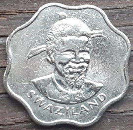 10 Центов, 1974 года,Свазиленд,Эсватини, Монета, Монеты, 10 Cents1974, Swaziland,Eswatini,Флора,Цукрова тростина, Flora, Sugar cane, Флора, Сахарный тростник на монете, King Sobuza II,Король Собуза IIна монете.