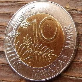 10 Марок, 1996 года, Финляндия, Монета, Монеты, 10 Markkaa 1996, Suomi, Finland,Горобина, Rowan,Рябина на монете,Fauna, Фауна, Пташка, Bird, Птица,Wood grouse, Глухарь на монете.