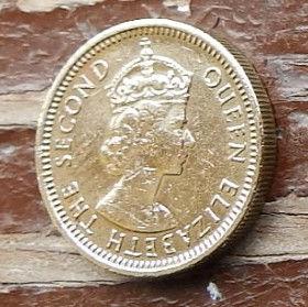 5 Центов, 1972 года, Гонконг, Монета, Монеты, 5 Five Cents 1972, Hong-Kong,Королева Elizabeth II, Елизавета IIна монете, Второй портрет королевы.
