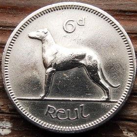 6 Пенсов, 1968 года, Ирландия, Монета, Монеты,Ireland, 6 d, Pence 1968, Eire, Тварина, Animal, Животное,Dog,Собака на монете,Harp,Арфа на монете.