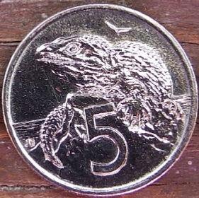 5 Центов, 1995 года,Новая Зеландия, Монета, Монеты, 5Cents1995, New Zealand,Sphenodon,Гаттерия на монете, Королева Elizabeth II, Елизавета IIна монете, Третий портрет королевы.