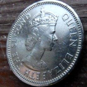 25 Центов, 1965 года, Британские Карибские территории, Монета, Монеты, 25 Twenty-Five Cents1965, British Caribbean Territories, Корабель, Вітрильник,Ship, Sailboat,Корабль, Парусник на монете,Королева Elizabeth II, Елизавета IIна монете, Второй портрет королевы.