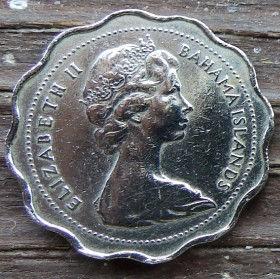 10 Центов, 1968 года, Багамские Острова, Монета, Монеты, 10 Ten Cents 1968, Bahama Islands,Фауна, Риби,Fauna, Fishes, Фауна, Рыбы на монете,Королева Elizabeth II, Елизавета IIна монете, Второй портрет королевы.