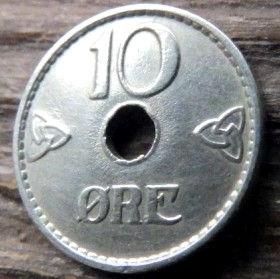 10 Эре, 1940 года, Норвегия, Монета, Монеты, 10 Ore 1940, Norge,Crown,Корона на монете, Монета с отверстием посередине.