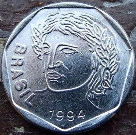 25 Сентаво,1994 года, Бразилия, Монета, Монеты, 25 Centavos 1994, Brasil,Обличчя людини,Human face,Лицо человека на монете.
