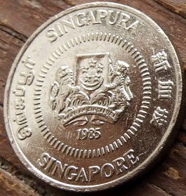 50 Центов, 1985 года, Сингапур, Монета, Монеты, 50 Fifty Cents 1985, Singapore, Квітка, Алламанда, Flower, Allamanda, Цветок,Алламандана монете, Coat of arms of Singapore, Герб Сингапура на монете.