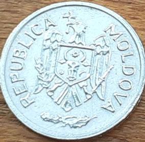 1 Бан,2000 года,Молдова,Монета, Монеты,1 Ban 2000, Republica Moldova, Coat of Arms, Герб,Fauna, Фауна, Пташка, Bird,Птица, Eagle, Орел на монете.