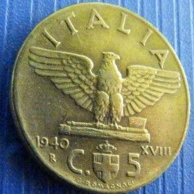 5 Чентезимо, 1942 года, Италия, Монета, Монеты, 5 Centesimi 1942, Italia, Italy, Coat of arms,Герб,Корона, Crown, Сокира,Ax,Топор, Fauna, Фауна, Пташка, Bird,Птица, Eagle, Орелна монете, Король Виктор Еммануил III на монете.