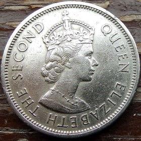 1 Доллар, 1960 года, Гонконг, Монета, Монеты, 1 One Dollar 1960, Hong-Kong,Leo, Crown,Лев, Коронана монете,Королева Elizabeth II, Елизавета IIна монете.