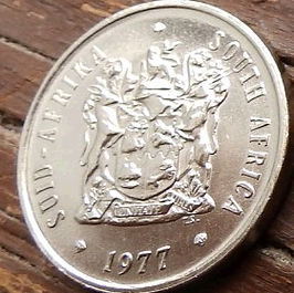 20 Центов, 1977 года, ЮАР,Монета, Монеты, 20 Cents1977,South Africa,Suid-Afrika, Flora, Flower, Protea artichoke, Флора, Цветок, Протея артишоковая на монете, Coat of arms of South Africa, ГербЮАРна монете.