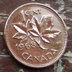 1 Цент, 1968 года,Канада, Монета, Монеты, 1 Cent 1968, Canada,Флора, Кленове листя,Flora, Maple leaves, Флора, Кленовые листьяна монете, Королева Elizabeth II, Елизавета IIна монете, Второй портрет королевы.