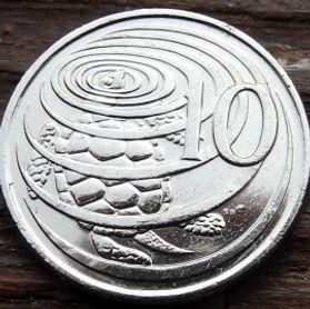 10 Центов, 2005 года, КаймановыОстрова, Монета, Монеты, 10 Ten Cents 2005, Cayman Islands,Fauna,Turtle,Фауна, Черепаха на монете,Королева Elizabeth II, Елизавета IIна монете, Четвертый портрет королевы.