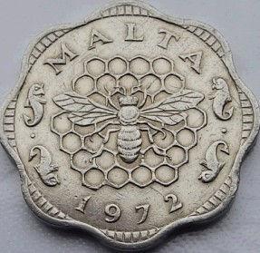 3 Милс, 1972 года, Мальта, Монета, Монеты, 3 Mils 1972, Malta,Рослинний орнамент,растительный орнамент,floral ornamentна монете,Fauna, Фауна,Бджола,Bee, Пчела,Fish, Рыбана монете.