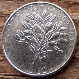 50 Лир,1976 года, Ватикан, Монета, Монеты, L.50, 50 Lire 1976, Vaticano, Гілка оливкового дерева,Olive,Ветвьоливкового дерева на монете, Pavlvs VI, Ключи,Keys.